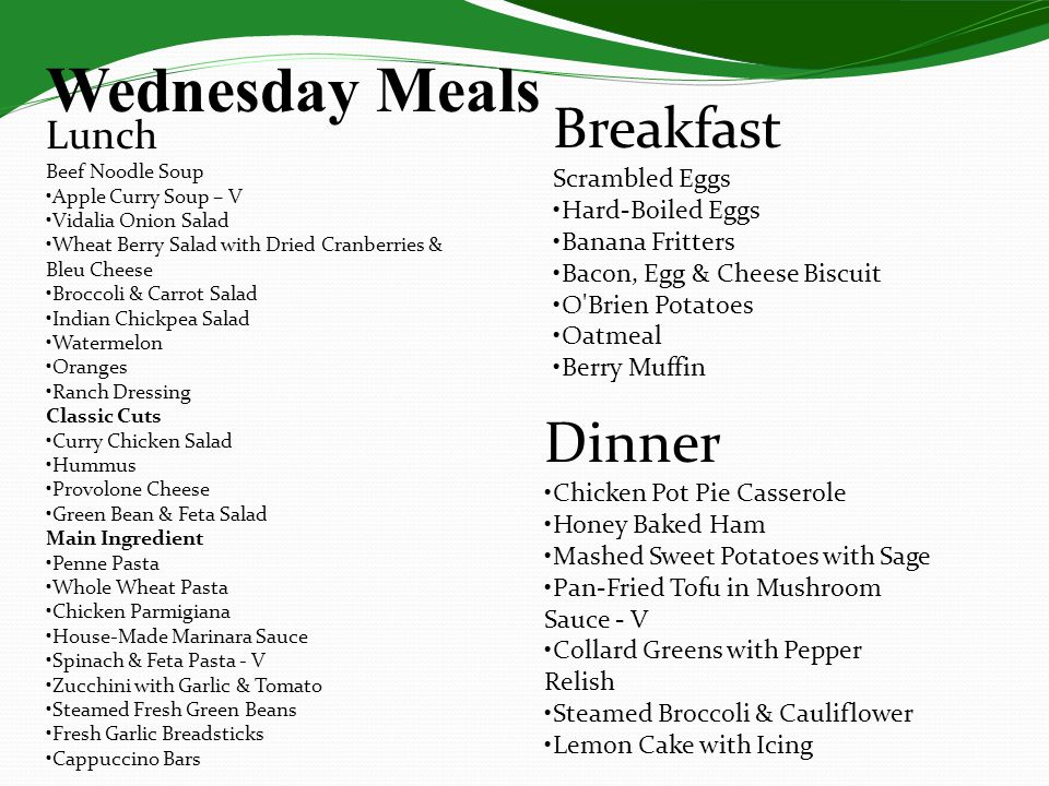 Wednesday Meals Lunch Beef Noodle Soup Apple Curry Soup – V Vidalia Onion Salad Wheat Berry Salad with Dried Cranberries & Bleu Cheese Broccoli & Carr