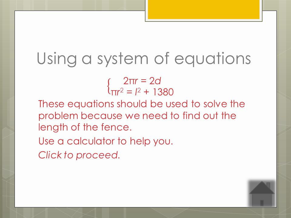 Using a system of equations