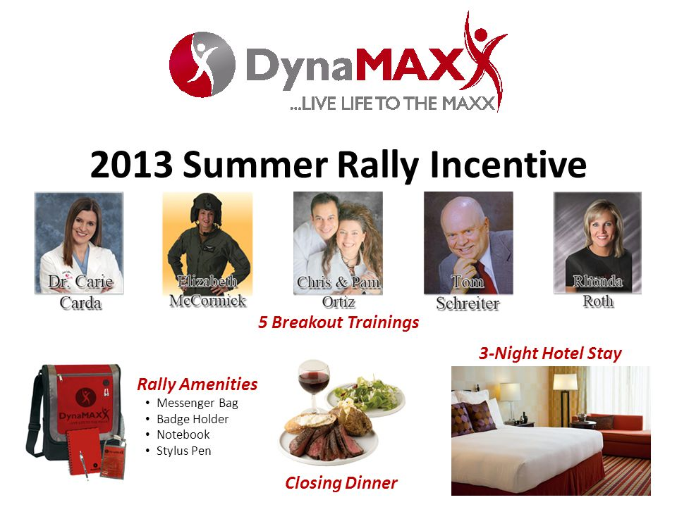 2013 Summer Rally Incentive 5 Breakout Trainings Rally Amenities Messenger Bag Badge Holder Notebook Stylus Pen Closing Dinner 3-Night Hotel Stay