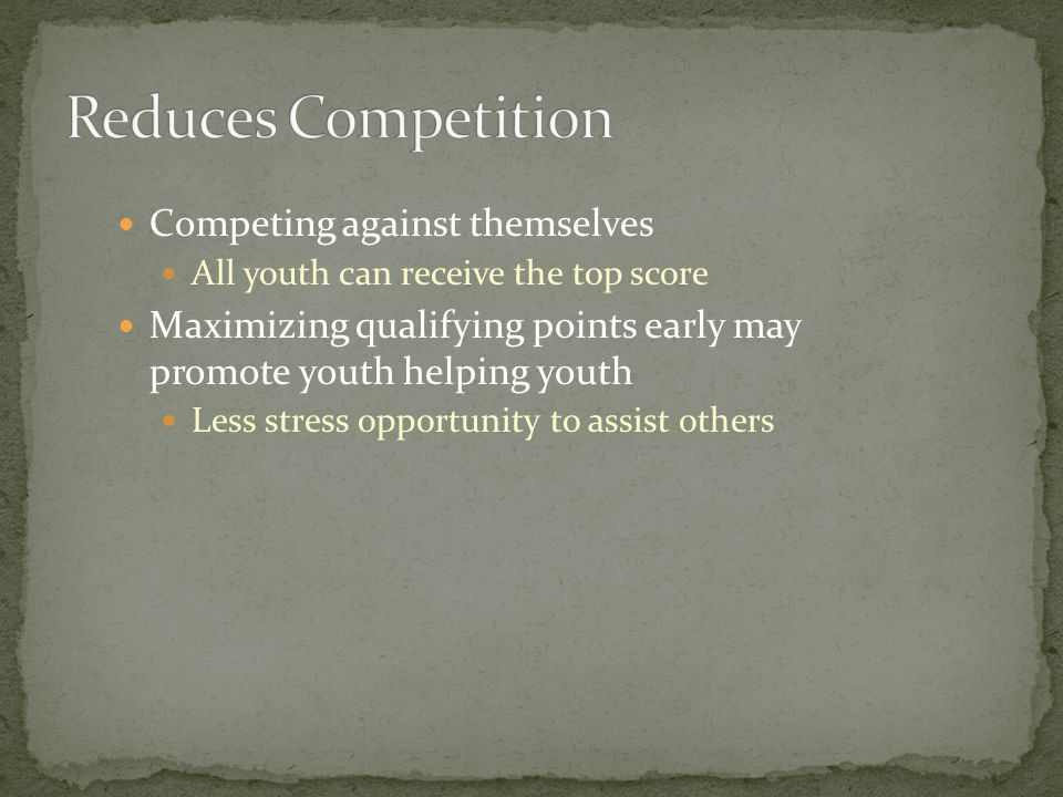 Competing against themselves All youth can receive the top score Maximizing qualifying points early may promote youth helping youth Less stress opportunity to assist others
