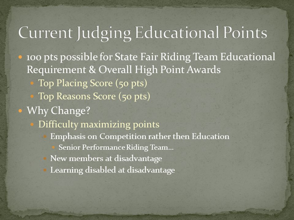 100 pts possible for State Fair Riding Team Educational Requirement & Overall High Point Awards Top Placing Score (50 pts) Top Reasons Score (50 pts) Why Change.