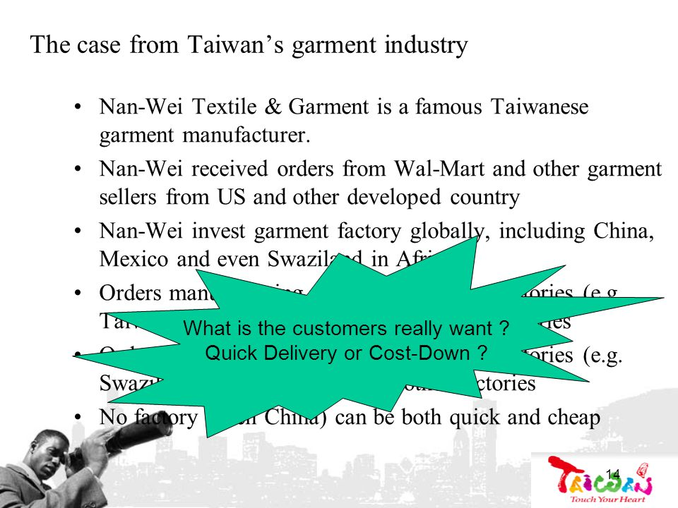 14 The case from Taiwans garment industry Nan-Wei Textile & Garment is a famous Taiwanese garment manufacturer.