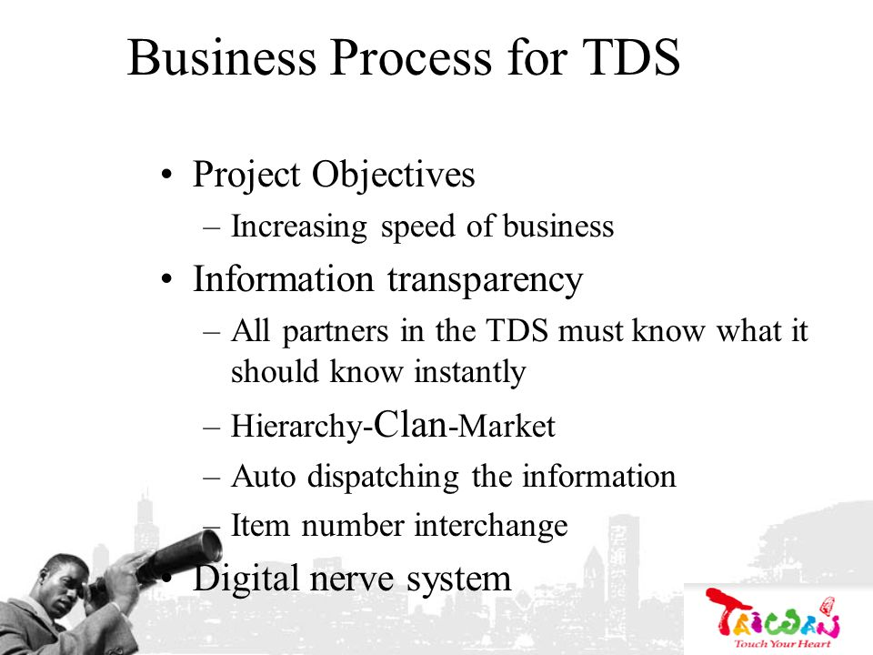 Business Process for TDS Project Objectives –Increasing speed of business Information transparency –All partners in the TDS must know what it should k