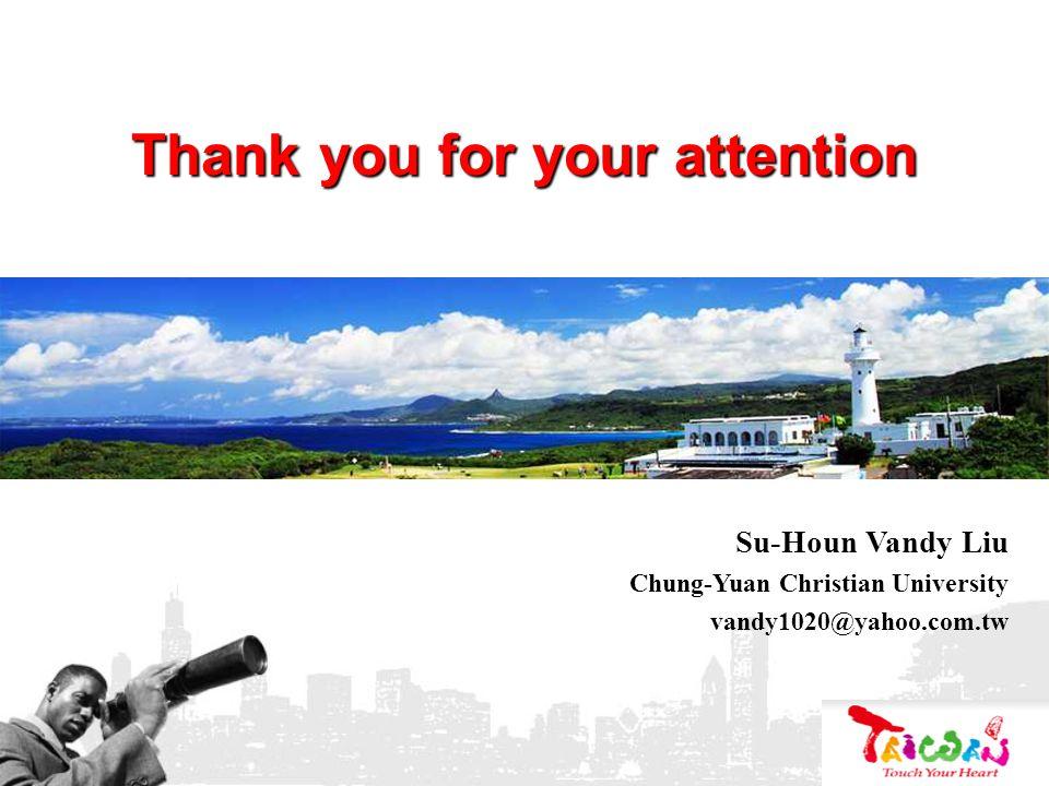 Thank you for your attention Su-Houn Vandy Liu Chung-Yuan Christian University vandy1020@yahoo.com.tw