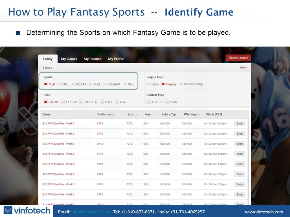 How to Play Fantasy Sports -- Identify Game Email: info@vinfotech.com Tel: +1-310-872-6371, India: +91-731-4065257info@vinfotech.comwww.vinfotech.com Determining the Sports on which Fantasy Game is to be played.