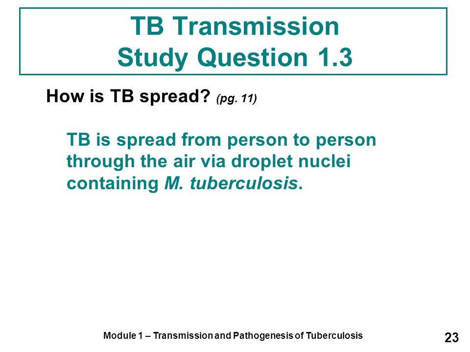 Module 1 – Transmission and Pathogenesis of Tuberculosis 23 TB Transmission Study Question 1.3 How is TB spread.