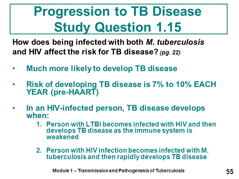 Module 1 – Transmission and Pathogenesis of Tuberculosis 55 Progression to TB Disease Study Question 1.15 How does being infected with both M.