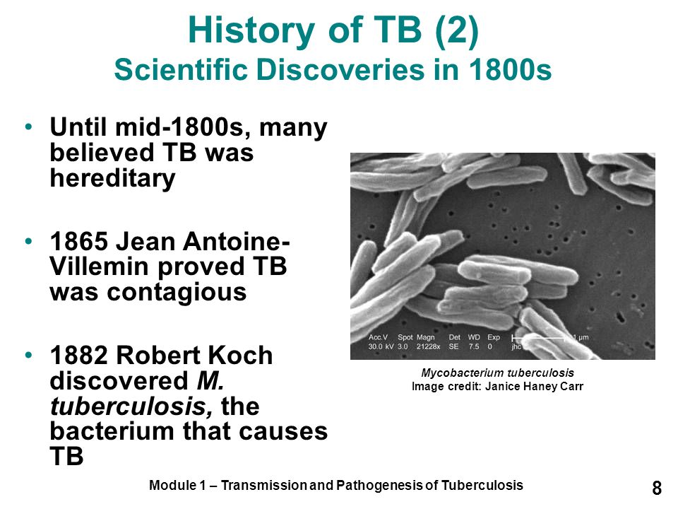 Module 1 – Transmission and Pathogenesis of Tuberculosis 8 Until mid-1800s, many believed TB was hereditary 1865 Jean Antoine- Villemin proved TB was contagious 1882 Robert Koch discovered M.