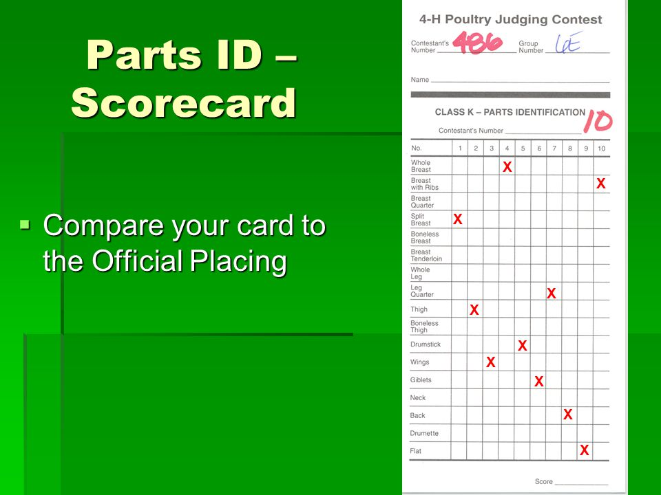 Parts ID – Scorecard Compare your card to the Official Placing Compare your card to the Official Placing X X X X X X X X X X