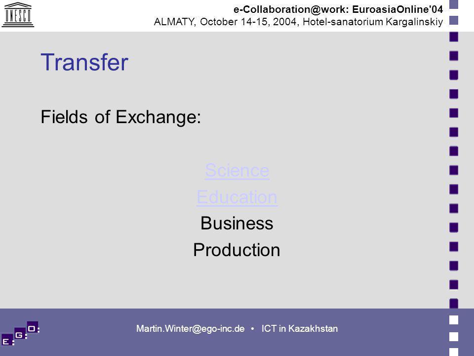 e-Collaboration@work: EuroasiaOnline 04 ALMATY, October 14-15, 2004, Hotel-sanatorium Kargalinskiy Martin.Winter@ego-inc.de ICT in Kazakhstan Transfer Fields of Exchange: Science Education Business Production