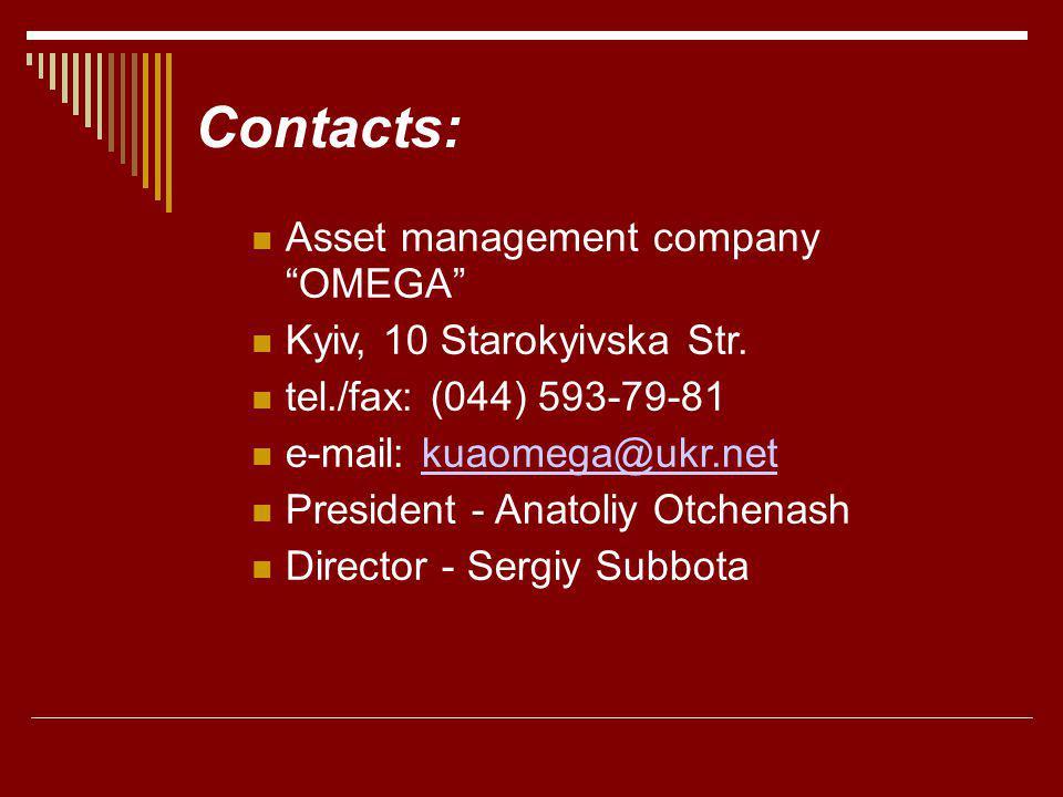 Contacts: Asset management company OMEGA Kyiv, 10 Starokyivska Str. tel./fax: (044) 593-79-81 e-mail: kuaomega@ukr.netkuaomega@ukr.net President - Ana
