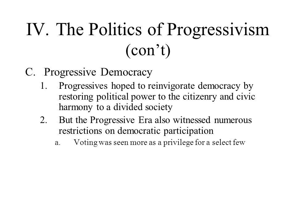 IV.The Politics of Progressivism (cont) C.Progressive Democracy 1.Progressives hoped to reinvigorate democracy by restoring political power to the cit