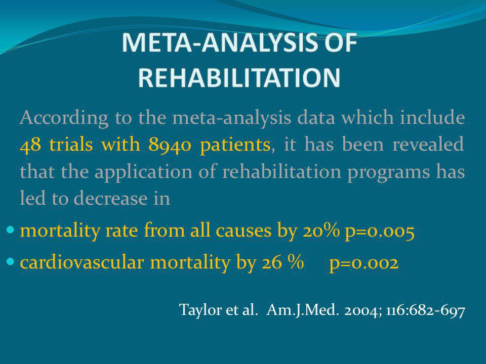 According to the meta-analysis data which include 48 trials with 8940 patients, it has been revealed that the application of rehabilitation programs h