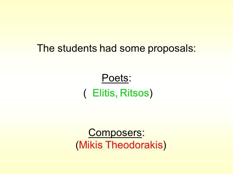 The students had some proposals: Poets: ( Elitis, Ritsos) Composers: (Mikis Theodorakis)