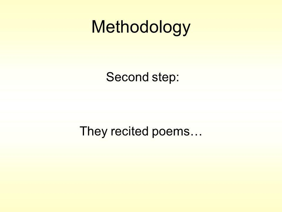 Methodology Second step: They recited poems…