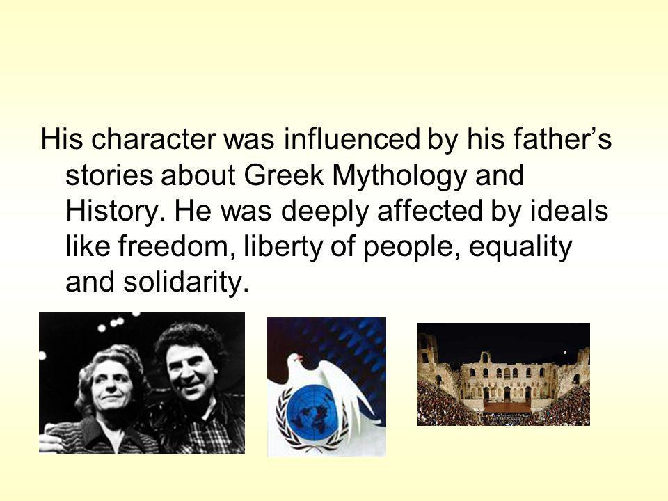 His character was influenced by his fathers stories about Greek Mythology and History.