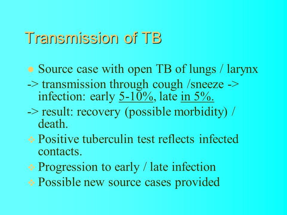 Transmission of TB Source case with open TB of lungs / larynx -> transmission through cough /sneeze -> infection: early 5-10%, late in 5%.