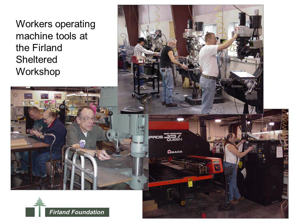 Workers operating machine tools at the Firland Sheltered Workshop
