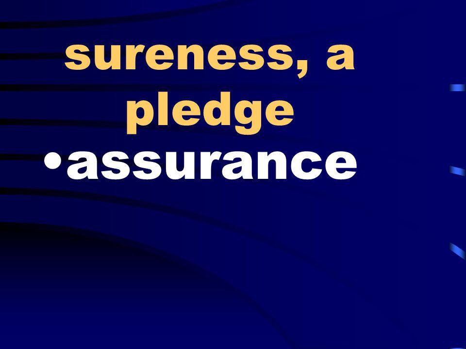 sureness, a pledge assurance