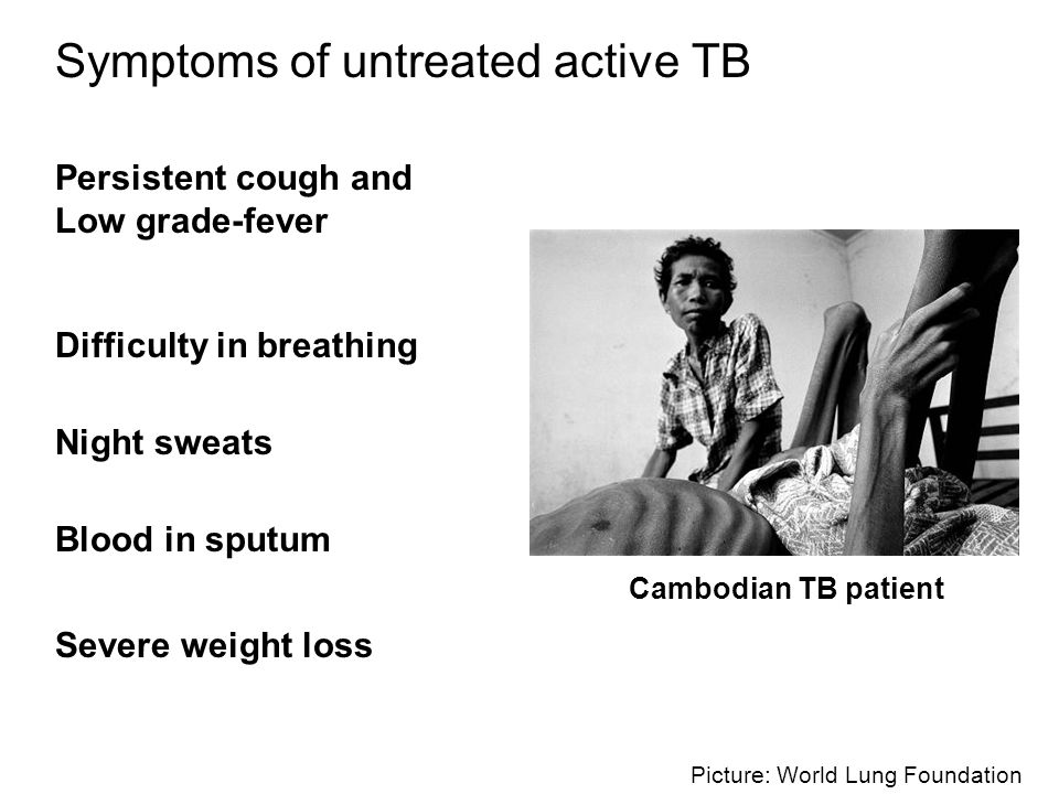 Picture: World Lung Foundation Symptoms of untreated active TB Persistent cough and Low grade-fever Difficulty in breathing Blood in sputum Severe wei
