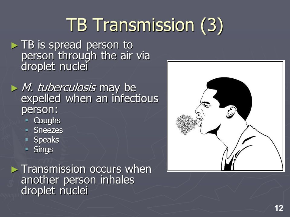 12 TB is spread person to person through the air via droplet nuclei TB is spread person to person through the air via droplet nuclei M. tuberculosis m