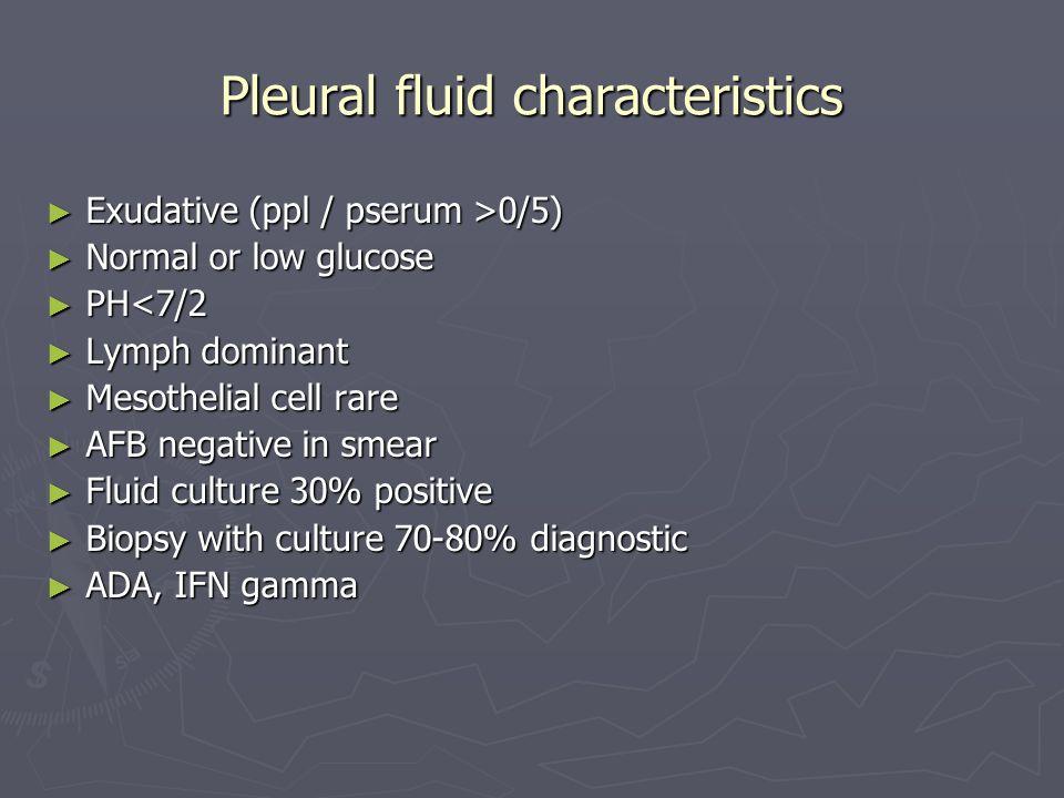 Pleural fluid characteristics Exudative (ppl / pserum >0/5) Exudative (ppl / pserum >0/5) Normal or low glucose Normal or low glucose PH<7/2 PH<7/2 Ly