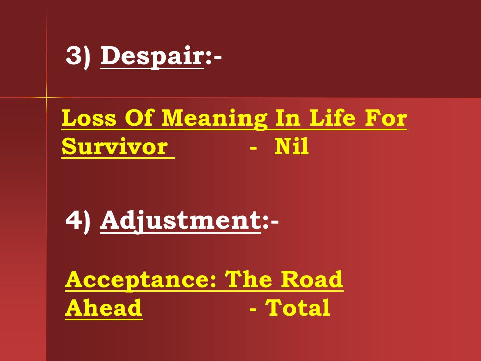 3) Despair:- Loss Of Meaning In Life For Survivor - Nil 4) Adjustment:- Acceptance: The Road Ahead - Total