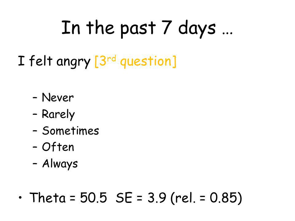In the past 7 days … I felt angry [3 rd question] –Never –Rarely –Sometimes –Often –Always Theta = 50.5 SE = 3.9 (rel.