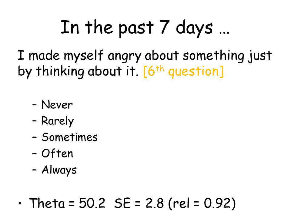In the past 7 days … I made myself angry about something just by thinking about it.