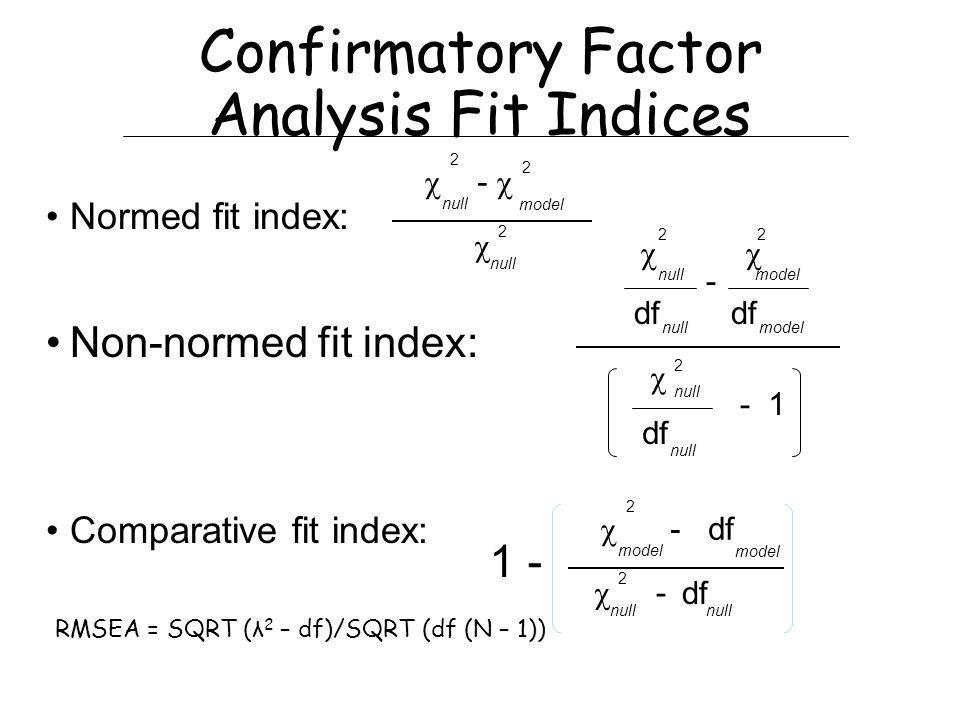 Confirmatory Factor Analysis Fit Indices Normed fit index: Non-normed fit index: Comparative fit index: - 2 null model 2 2 null 2 null model 2 - df nullmodel 2 null df -1 - df 2 model - 2 null df null 1 - RMSEA = SQRT (λ 2 – df)/SQRT (df (N – 1))