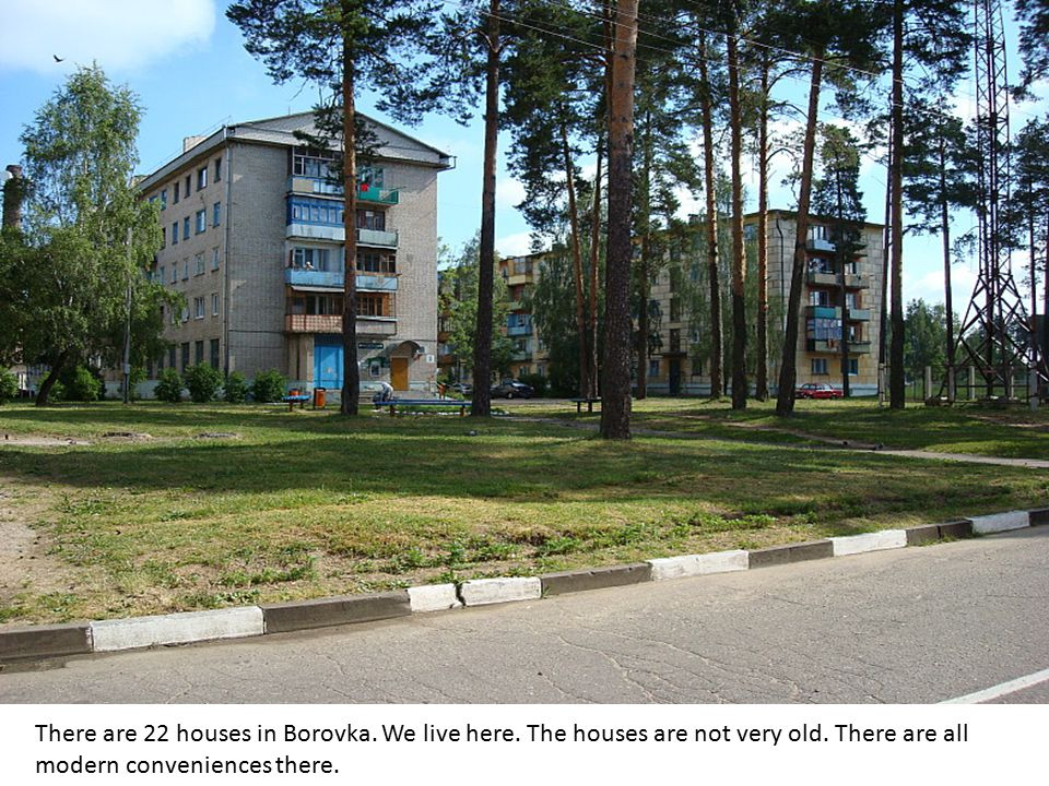 There are 22 houses in Borovka. We live here. The houses are not very old. There are all modern conveniences there.