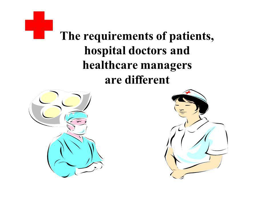 The requirements of patients, hospital doctors and healthcare managers are different