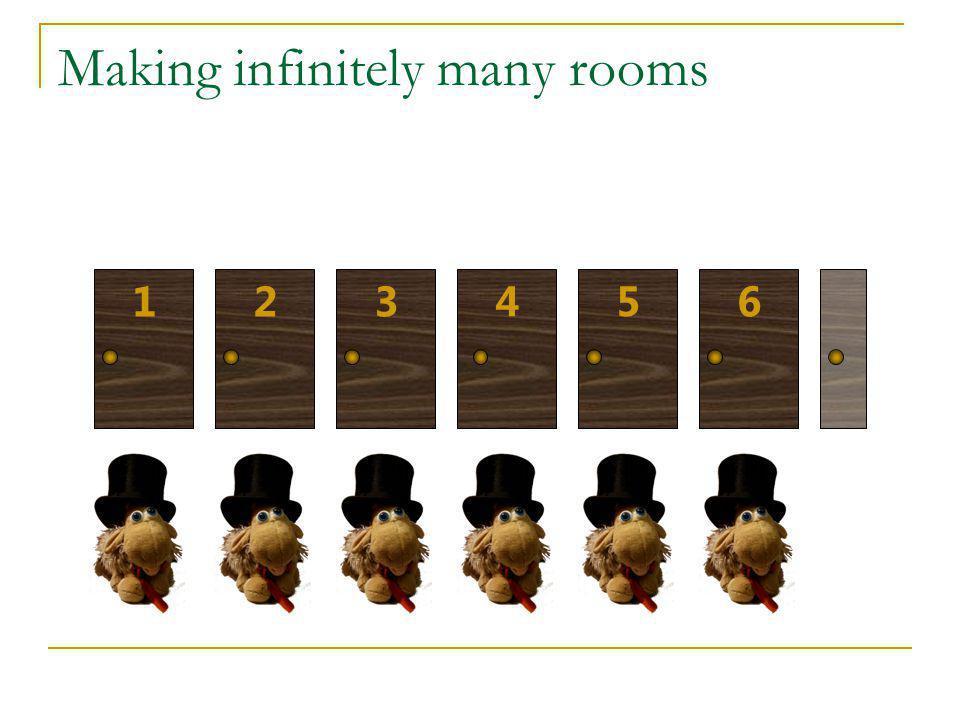 Making infinitely many rooms 123 45 6
