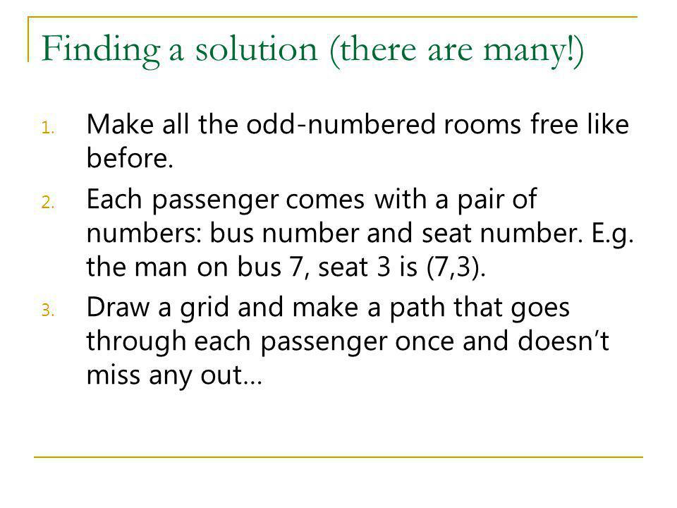 Finding a solution (there are many!) 1. Make all the odd-numbered rooms free like before. 2. Each passenger comes with a pair of numbers: bus number a
