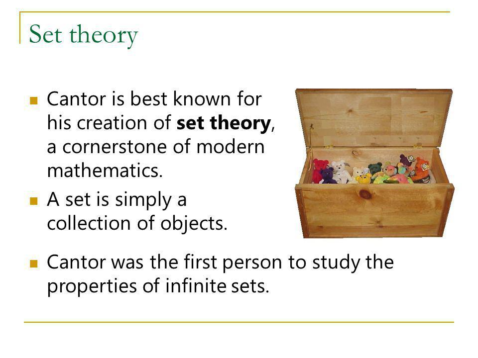 Set theory Cantor is best known for his creation of set theory, a cornerstone of modern mathematics. A set is simply a collection of objects. Cantor w