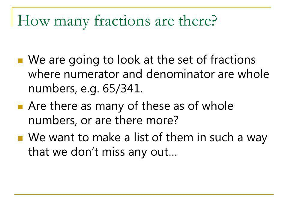 How many fractions are there? We are going to look at the set of fractions where numerator and denominator are whole numbers, e.g. 65/341. Are there a