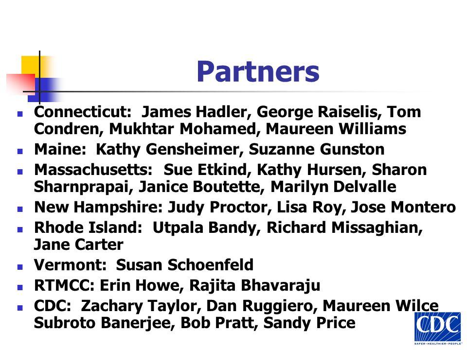 Partners Connecticut: James Hadler, George Raiselis, Tom Condren, Mukhtar Mohamed, Maureen Williams Maine: Kathy Gensheimer, Suzanne Gunston Massachus