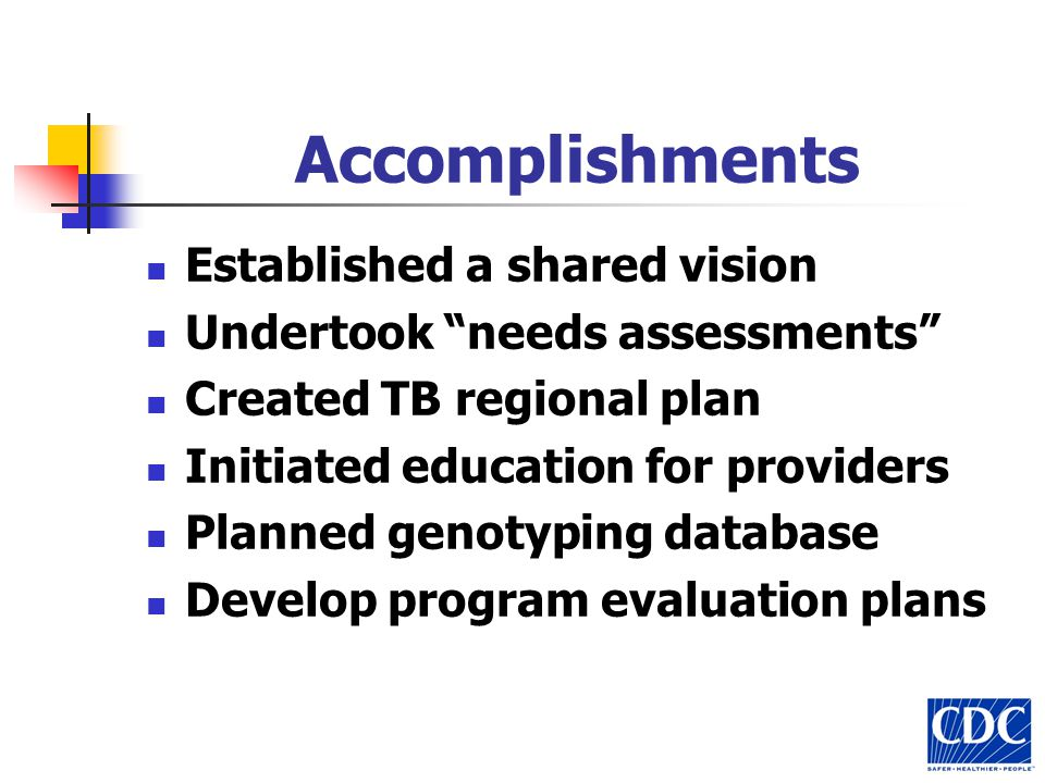 Accomplishments Established a shared vision Undertook needs assessments Created TB regional plan Initiated education for providers Planned genotyping database Develop program evaluation plans