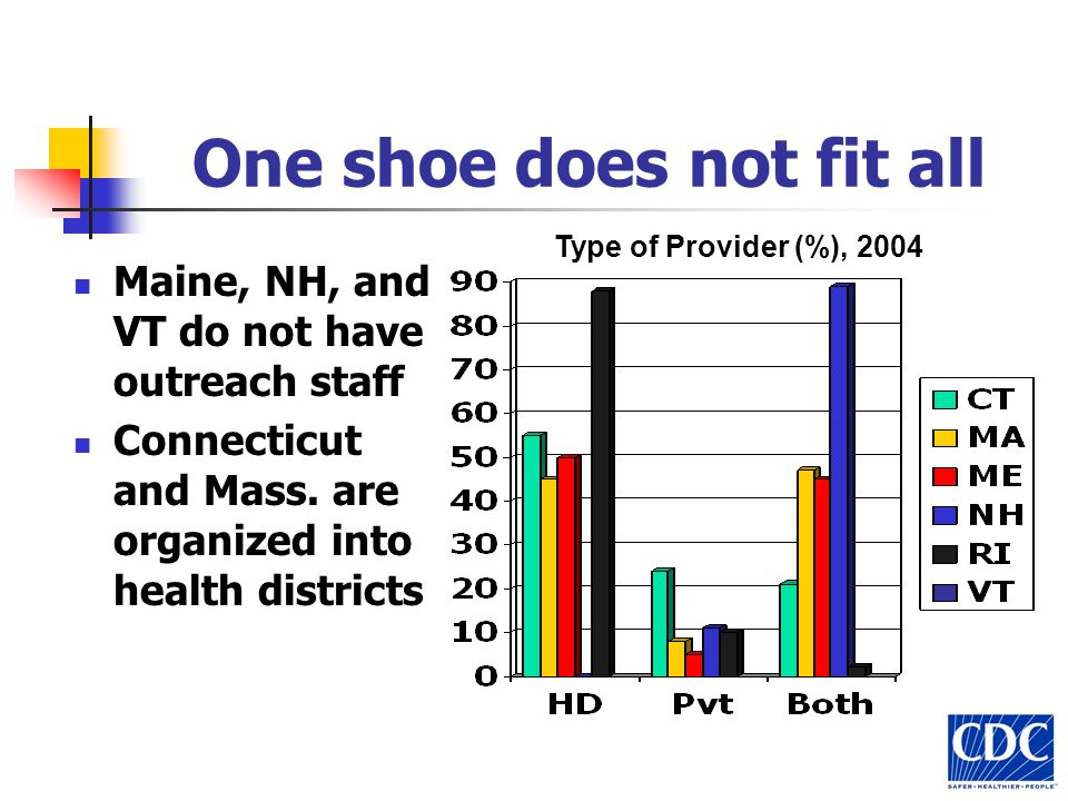 One shoe does not fit all Maine, NH, and VT do not have outreach staff Connecticut and Mass. are organized into health districts Type of Provider (%),