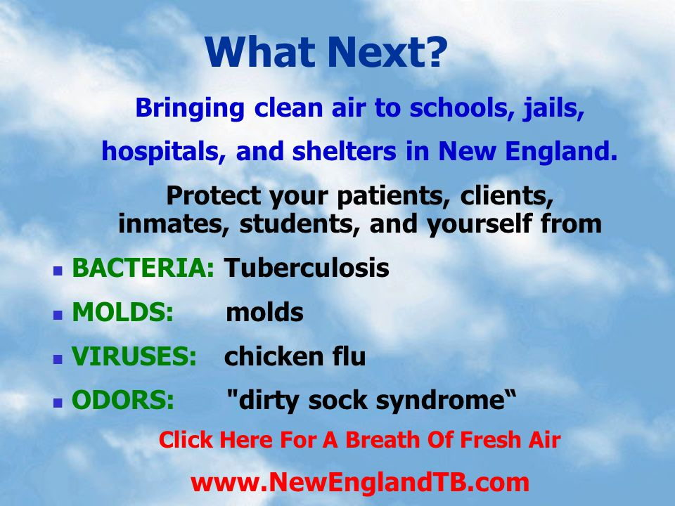 Bringing clean air to schools, jails, hospitals, and shelters in New England. Protect your patients, clients, inmates, students, and yourself from BAC