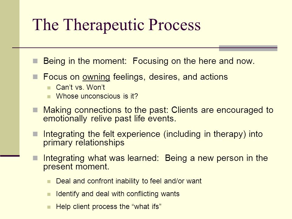 The Therapeutic Process Being in the moment: Focusing on the here and now.