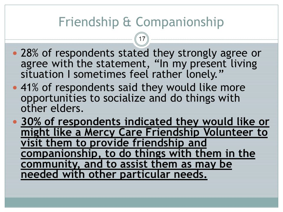 Friendship & Companionship 17 28% of respondents stated they strongly agree or agree with the statement, In my present living situation I sometimes feel rather lonely.