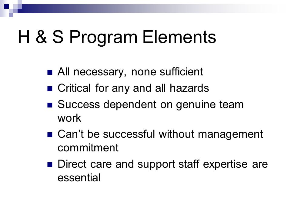 H & S Program Elements All necessary, none sufficient Critical for any and all hazards Success dependent on genuine team work Cant be successful without management commitment Direct care and support staff expertise are essential