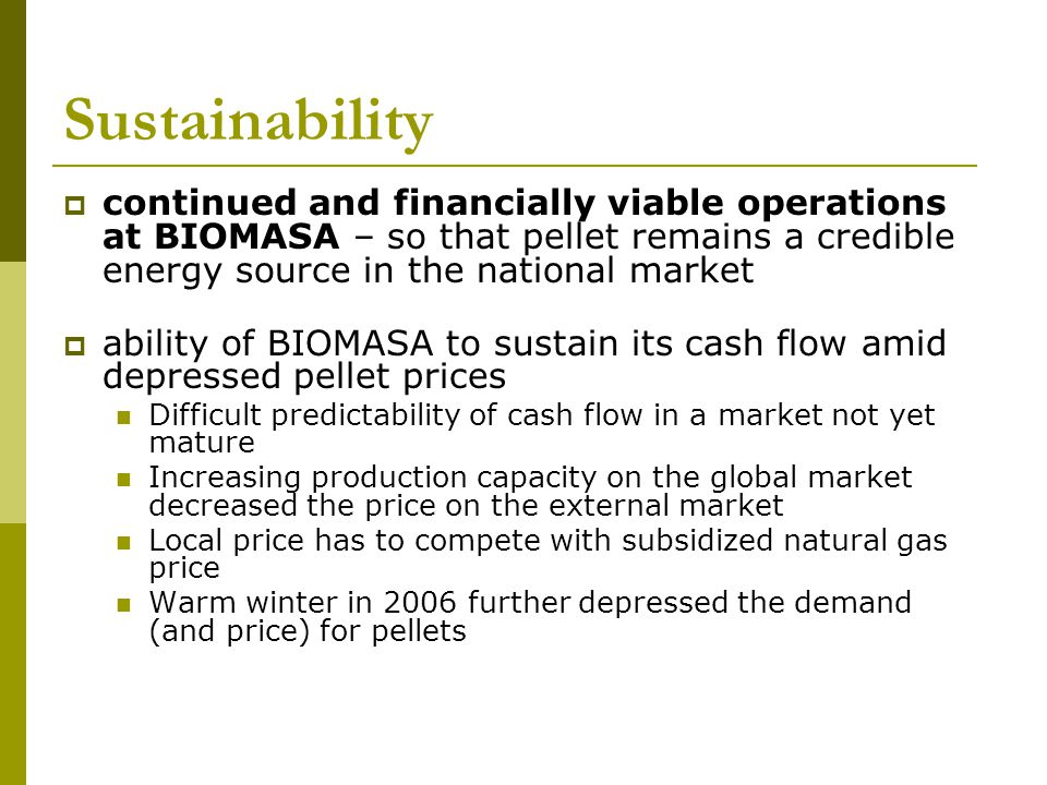 Sustainability continued and financially viable operations at BIOMASA – so that pellet remains a credible energy source in the national market ability of BIOMASA to sustain its cash flow amid depressed pellet prices Difficult predictability of cash flow in a market not yet mature Increasing production capacity on the global market decreased the price on the external market Local price has to compete with subsidized natural gas price Warm winter in 2006 further depressed the demand (and price) for pellets