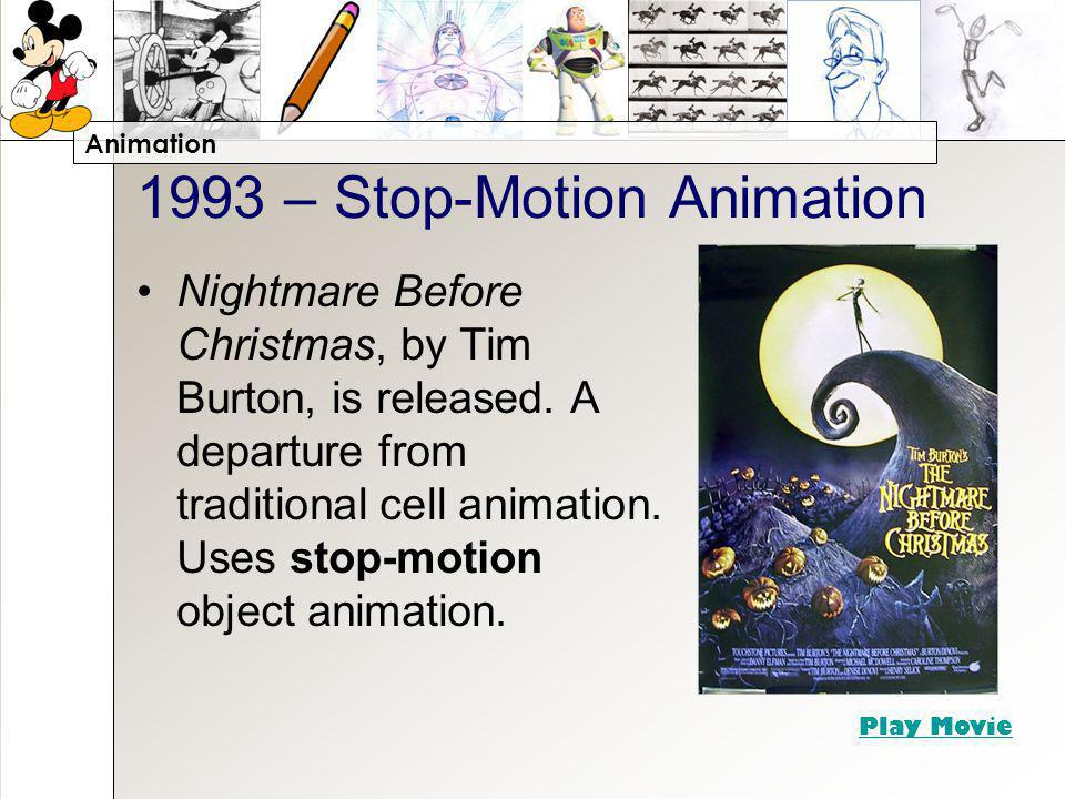 Animation 1993 – Stop-Motion Animation Nightmare Before Christmas, by Tim Burton, is released.