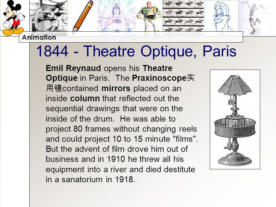 Animation 1844 - Theatre Optique, Paris Emil Reynaud opens his Theatre Optique in Paris. The Praxinoscope contained mirrors placed on an inside column
