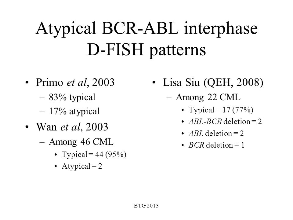 BTG 2013 Atypical BCR-ABL interphase D-FISH patterns Primo et al, 2003 –83% typical –17% atypical Wan et al, 2003 –Among 46 CML Typical = 44 (95%) Aty