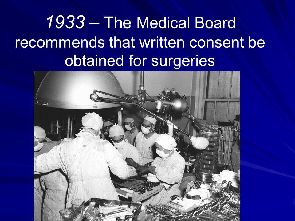 1933 – The Medical Board recommends that written consent be obtained for surgeries