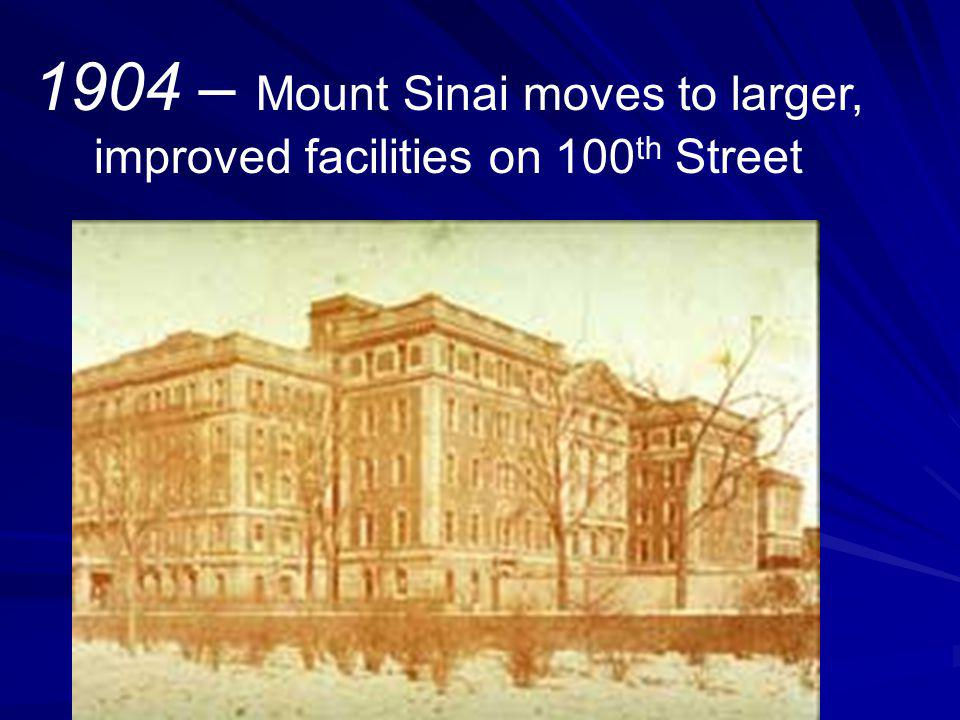 1904 – Mount Sinai moves to larger, improved facilities on 100 th Street