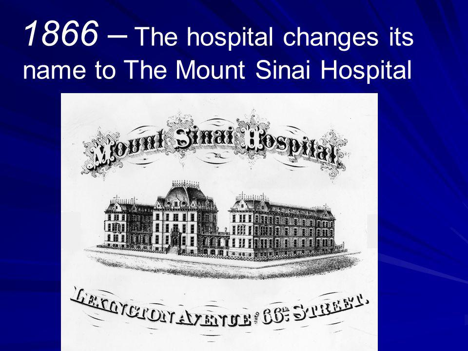 1877 – When the wards are divided between medicine and surgery cases, the first official departments are created